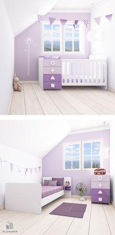 Cuna convertible MINI MATHS Alondra en color lila para bebés niños y niñas. Convertible en cama de 90x200 con cómoda ¡Una solución de largo recorrido!