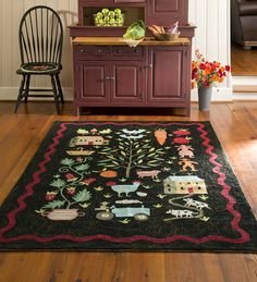 Contemporary Folk Art Hand-Hooked Rug, 8' x 10' | Collection Accessories
