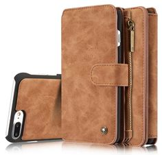 Multifunction stand iphone 7 plus flip leather cases and covers with card slots brown
