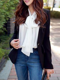 DABUWAWA Black Buttoned Long Sleeve Woven Blazer - AdoreWe.com