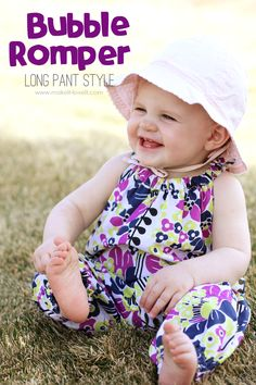 Bubble Romper for Baby: Long Pant style.a great DIY for the upcoming warmer months. It will surprise you how simple this really is to make! Romper Long Pants, Baby Pants, Baby Kind, Baby Girls, Sewing For Kids, Baby Sewing, Romper Tutorial, Diy Tutorial, Sewing Tips