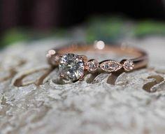 New Art Deco Moissanite Ring Diamonds 14K Rose Gold Ring Engagement Ring-Christmas Gift