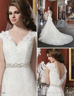 Wholesale A-Line Wedding Dresses - Buy Popular Style a Line V-neck Short Sleeve Wedding Dresses Chapel Train Ivory Lace Wedding Gowns with Crystal Low Back Bridal, $179.0 | DHgate