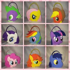 my little pony  party bags treat favors, rarity flutter shy rainbow dash and more by titaspartycreations on Etsy
