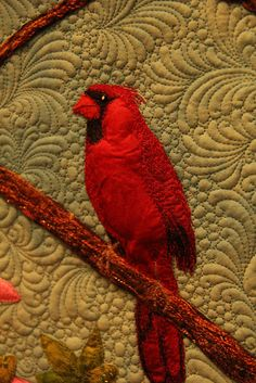 Finishing Lines by K. Sperino: blog hop stops here!  feathers on cardinal are thread painted