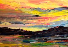 "Original Oil  ACEO  ""Colorado Sunset""   Landscape  by US Artist   Kevin Cross #Impressionism"