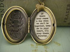 CHAiNGE the subject Pooh Necklace, Locket, If there ever comes a day when we can't be together, keep me in your heart, I'll stay there forever Cant Be Together, Victoria Kay, Little Things Quotes, Friends Mom, Locket Necklace, Necklace Tattoo, Heart Locket, Pendant Necklace, Reading Quotes