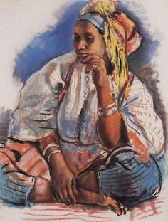 Moroccan Woman Artwork By Zinaida Serebriakova Oil Painting & Art Prints On Canvas For Sale African Image, African American Art, African Art, Art Marocain, Moroccan Art, Portraits, Art Database, Oil Painting Reproductions, Belle Photo