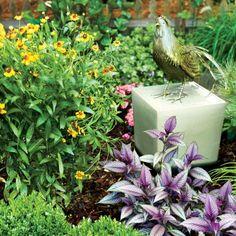 Inspiring North Carolina Garden: Rooster Statue