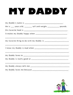 Printable Father's Day Questionnaire - so fun to hear your little one's answers to questions about their Daddy! :)