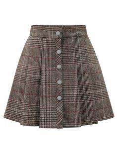 Khaki Plaid Button Front Mini Skirt - Khaki Plaid Button Front Mini Skirt You are in the right place about outfits oficina Here we offer - Skirt Outfits, Casual Outfits, Cute Outfits, Fashion Outfits, Gothic Fashion, Unique Fashion, Steampunk Dress, Gothic Steampunk, Steampunk Clothing