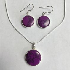 """Purple turquoise 925 silver necklace & earring set Genuine purple turquoise sterling silver necklace & earring set. Sterling silver chain is 18"""". Fabulous color & beautiful stones! I'm open to reasonable offers & give bundle discounts! ☮❤️✌️ Jewelry"""