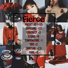 VSCO FILTERS ♡ FIERCE ❤️ ♡ Type: dark Red filter ♡ Looks best: Everything with hint of color red or black ♡ .. For #coffee photos #Christmas #photography selfies . you're going to love this one ! #VSCO #diy #Instagram #Tumblr