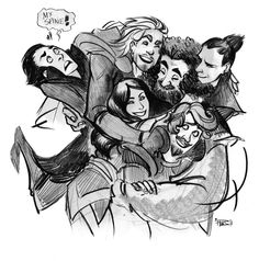 Sif and the Warriors Three, Thor, and Loki...
