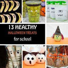 13 Healthy Halloween treats for kids to bring to school: banana ghost, grape Frankenstein, cheese ghosts, apple ghosts, pretzel witch broomsticks, apple witches, apple Frankenstein,