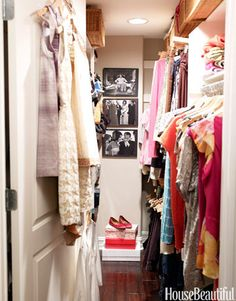 Love your closets. Paint them, paper them, hang pictures in them to inspire you.
