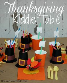 Pilgrim Thanksgiving Kiddie Table | Thanksgiving Table Settings to WOW Your Guests | Thanksgiving Decorations