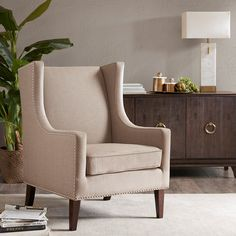 Charlton Home Chagnon Wingback Chair Upholstery Colour: Grey Barrel Chair, Wing Chair, Grey Chair, Wingback Chair, Armchair, Upholstered Chairs, Chair Design, Decoration, Side Chairs