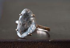 Custom Natural Grey-Black Diamond Slice Ring