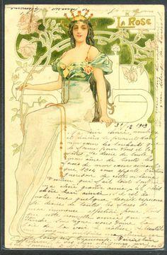 """LS200 Art Nouveau """"La Rose"""" Femme Couronne Bijoux Jewelry Lady Belle Litho   eBay"""