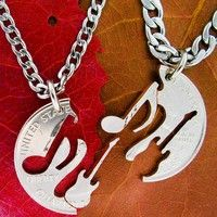 Electric Guitar and Music Note Relationship set, interlocking hand cut coin from Branson. Saved to Music Cuts. Cute Couple Necklaces, Couple Jewelry, Bf Gifts, Couple Gifts, Couple Stuff, Music Jewelry, Coin Jewelry, Jewlery, Music Note Necklace