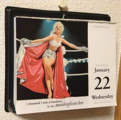 January 22 : Meidenform Bras 1961 メイデンフォームのブラでこんな夢をみた...(I dreamed...)はキャッチフレーズ。a knockout はノックアウトされるような美人ってことか。