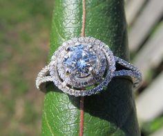 Diamond Engagement Ring -14K white gold - 1.0 carat total Round - Double Halo - Split shank - Pave - Antique Style - BP001. $2,750.00, via Etsy.