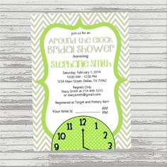 AROUND THE CLOCK Bridal Shower Invitation  by OliviaKateDesigns, $14.00