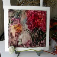 Original Encaustic Floral Fantasy  home decor wall by StudioSabine, $85.00
