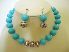 Turquoise Necklace Earring Set Silver Jewelry Combo by cdjali, $25.00