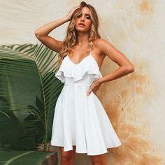 0d012858ed21 Open Back Lace Up Ruffles Mini Dress · White Sleeveless DressWhite Dress  CasualWhite Dress OutfitWhite Dress SummerCasual Summer DressesBeach ...
