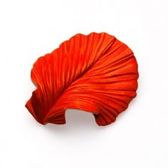 Catherine Truman, Red Shell, brooch, 2011, English lime wood