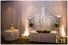 Hanging initials to fit in with lighting Wedding Dj, Wedding Reception, Destination Wedding, Uplighting Wedding, Bridal Party Tables, Stamford, Sweetheart Table, Sunshine Coast, Gold Coast