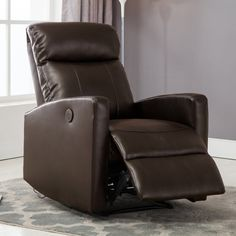 Christies Home Living Sean Leather Power Reclining Reading Chair with USB Port - SEAN-BLACK-PRC
