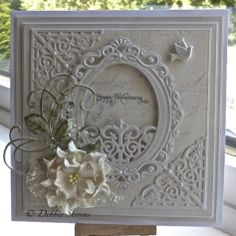 Spellbinders grand squares, Spellbinders (becca feeken) filigree corners, Spellbinders bella rose die and matching stamp, Marianne designs c...