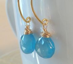 Blue Lagoon Chalcedony AAA Gemstone Earrings by BluejasmineDesign