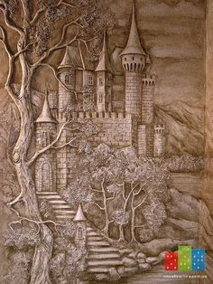Relief Carving of a Castle and Trees Cardboard Sculpture, Wood Sculpture, Wall Sculptures, Wood Carving Patterns, Wood Carving Art, Wood Art, Clay Wall Art, Mural Wall Art, Plaster Art