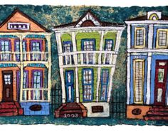 Cat on New Orleans Shotgun House MATTED to by EllenMcCordARTS
