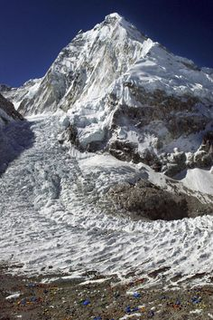 Mount Everest in scale - Those colorful bits down the bottom aren't rocks or debris but are in fact tents.