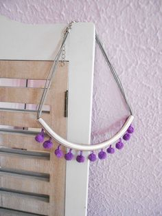 Pom pom Necklace ,Boho Necklace , Purple Necklace , Metalwork Necklace , Silver Necklace , Pompom Jewels , Ponpon necklace , Pon pon jewels by ecreation on Etsy https://www.etsy.com/listing/198619301/pom-pom-necklace-boho-necklace-purple