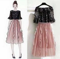 Draped Skirt, Chiffon Shirt, Skirt Suit, Ruffles, Floral Prints, Tulle, Ballet Skirt, Suits, Female
