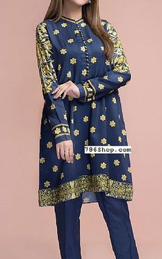 Blue Cotton Silk Kurti | Buy Kayseria Pakistani Dresses and Clothing online in USA, UK