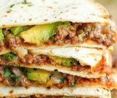 Easy no-fuss quesadillas that are perfectly crisp and amazingly cheesy. An absolute must for those busy weeknights! Wrap Recipes, Milk Recipes, Cooking Recipes, Best Mexican Recipes, Mexican Meals, Mexican Dishes, High Protein Breakfast, Quesadilla Recipes, Beef Quesadillas