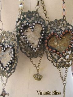 jewelry by Tricia Samsal of Vintage Bliss, featuring antique ceiling tile cutouts
