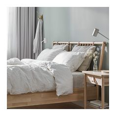 IKEA BJÖRKSNÄS bed frame Made of solid wood, which is a hardwearing and warm natural material. Cama Ikea, Full Bed Frame, King Bed Frame, Ikea Design, Ikea Bed Frames, Ikea Family, Bed Slats, Bed Base, Adjustable Beds