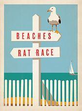 Beaches vs Rat Race 24x32 art print poster whimsical seagull ocean coastal beach