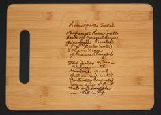 Custom engraved cutting board on Etsy with a family recipe. What an amazing gift!