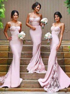 TRUMPET/MERMAID BRIDESMAID DRESSES LONG PINK BRIDESMAID DRESSES,PD1512