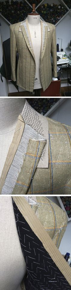 A single breasted bespoke jacket, made up in a W Bill wool and silk blend cloth. The hand stitched collar and pad stitched chest piece are visible at this baste stage, clearly showing the level of skill and craftsmanship that goes into a genuine bespoke garment. www.cadandthedandy.co.uk