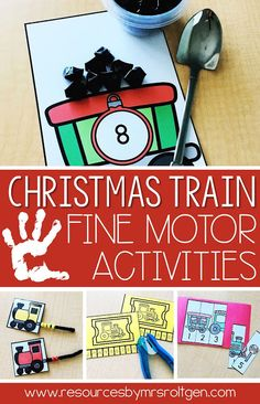 "Looking for more Christmas and winter fine motor activities? Check out my blog for all the details on this pack!  Your students will have fun scooping ""coal"", linking train cars, punching their train tickets, and making a train puzzle!"